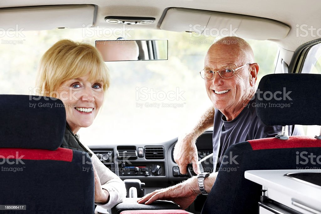 Senior couple on a roadtrip royalty-free stock photo