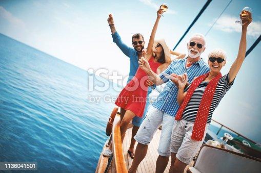istock Senior couple on a sailing cruise. 1136041501