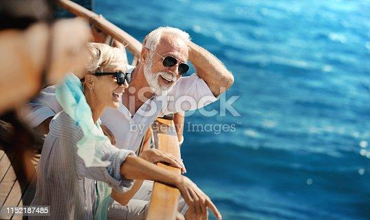 istock Senior couple on a sailing cruise. 1152187485
