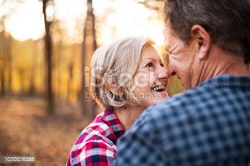 istock Senior couple on a walk in an autumn forest. 1020526388