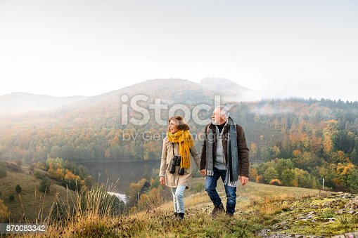 istock Senior couple on a walk in an autumn nature. 870083342