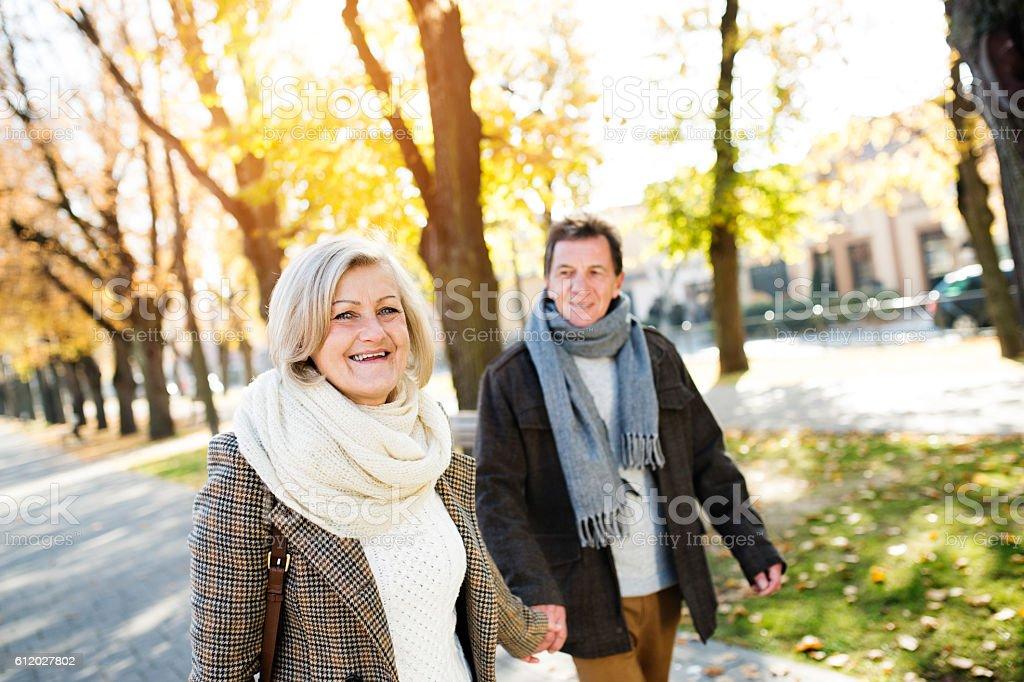 Senior couple on a walk in park. Autumn nature. stock photo