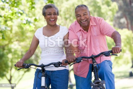 istock Senior couple on cycle ride 92256867