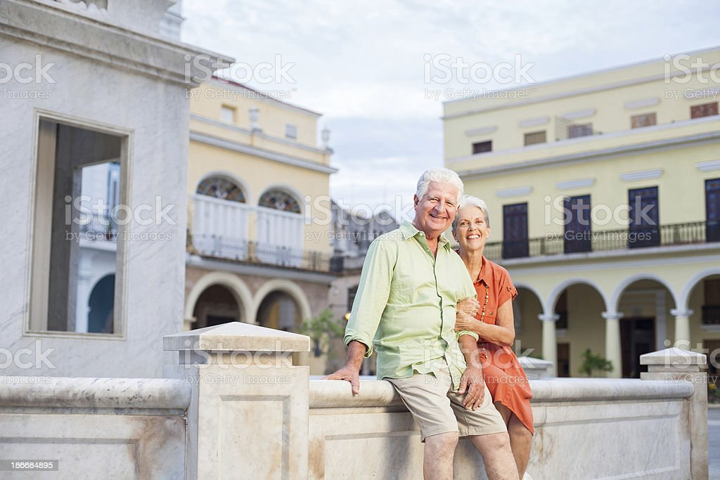 Senior couple on the Havana royalty-free stock photo