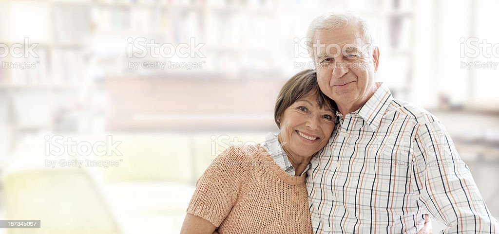senior couple on the living room royalty-free stock photo