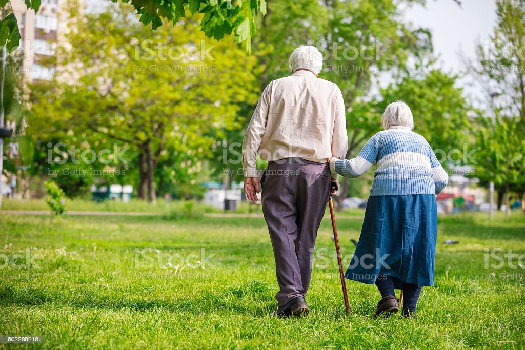 Senior couple outdoors stock photo