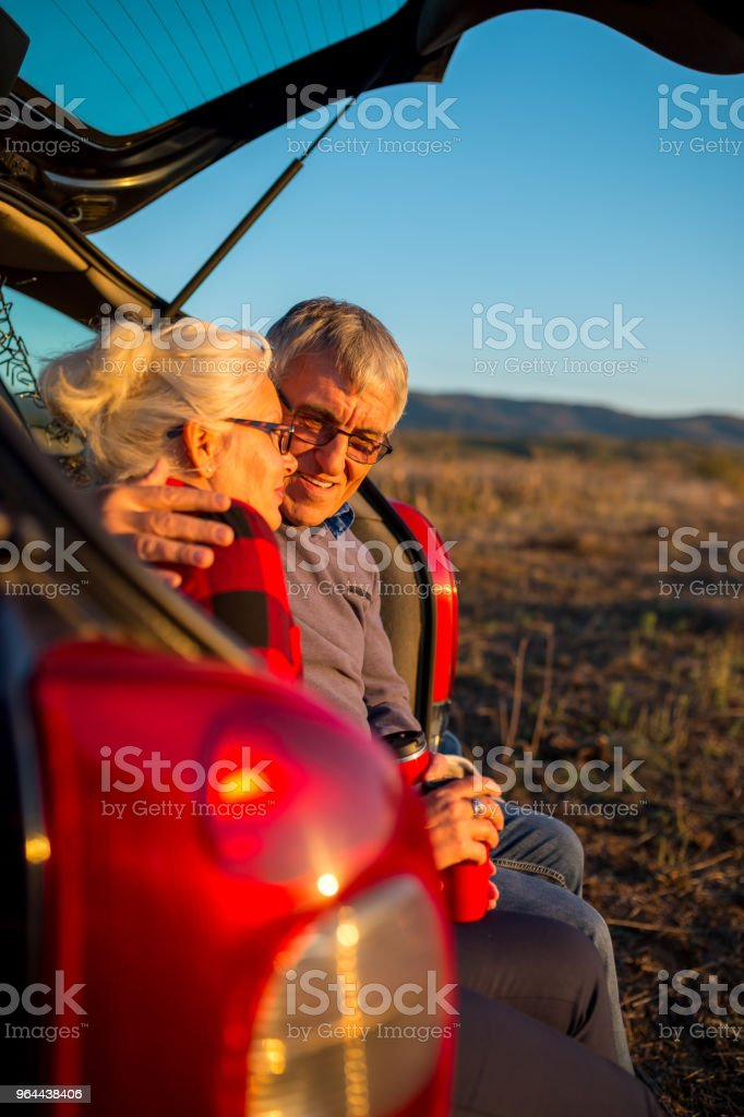 Senior couple outdoors with car - Royalty-free 1960-1969 Stock Photo