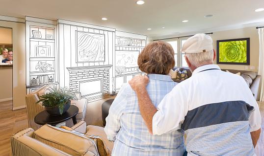 594910248 istock photo Senior Couple Over Custom Living Room Design Drawing and Photo 468001090