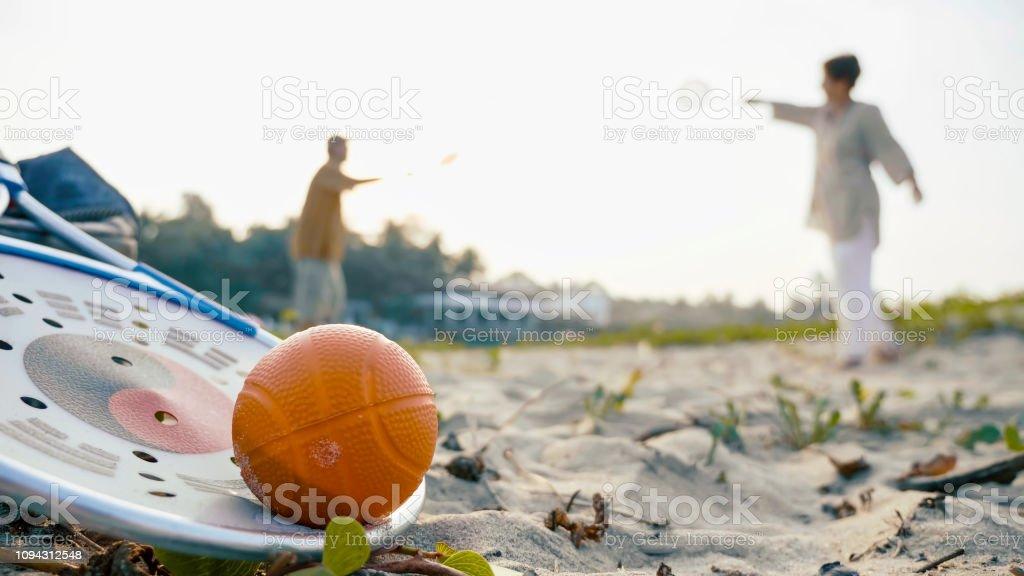 Taiji baloon ball concept. A senior couple plaing tai chi ball game...