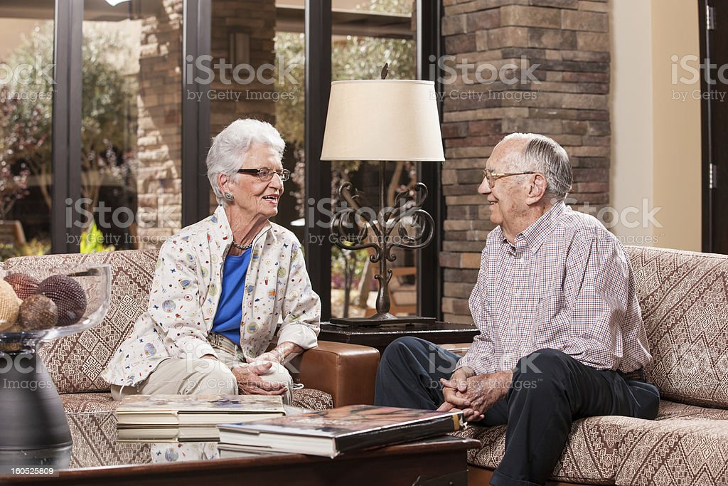 Senior Couple Relaxing in Retirement Home royalty-free stock photo