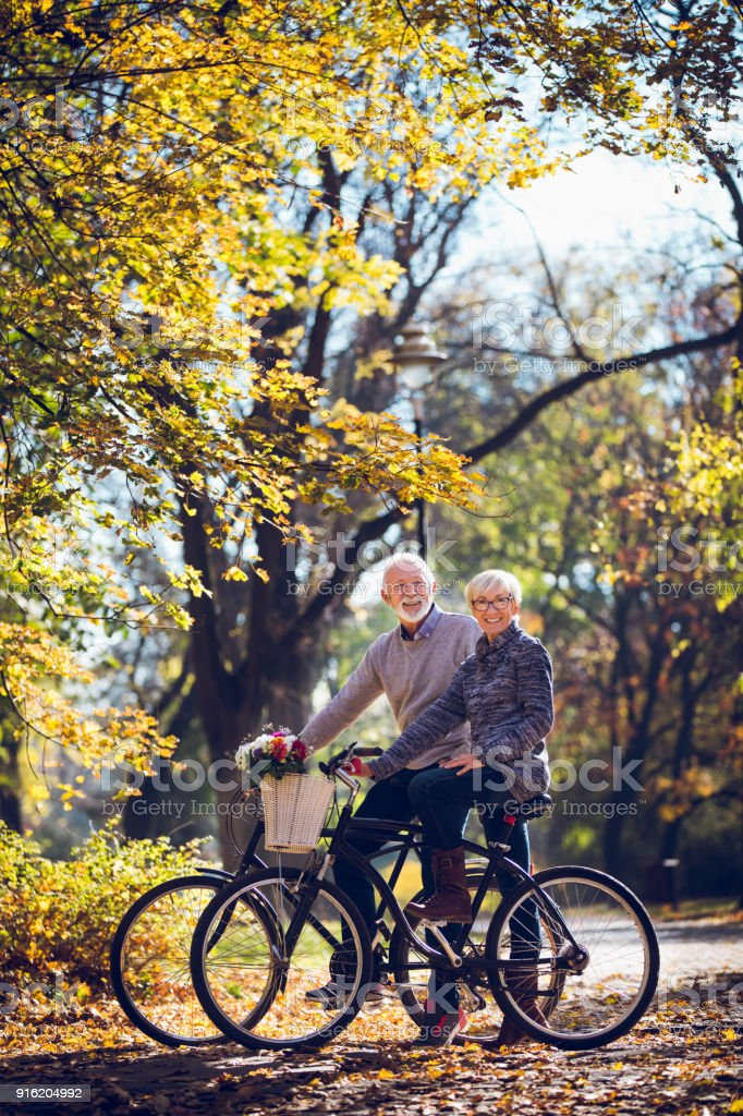 Senior couple riding bicycles in the park stock photo