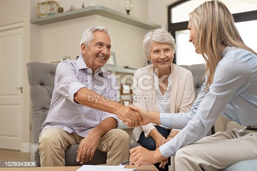 istock Senior couple shaking hands with financial advisor 1029343906