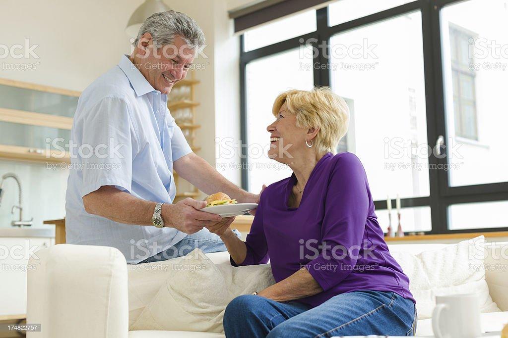 Senior couple sharing Breakfast royalty-free stock photo