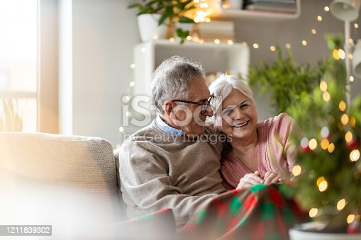 Senior couple sitting in the living room together during Christmas