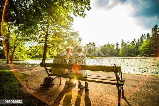 Rear view of a senior couple sitting on a bench near a lake in a park on a sunny day.
