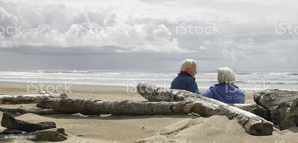 Senior couple sitting on beach 免版稅 stock photo