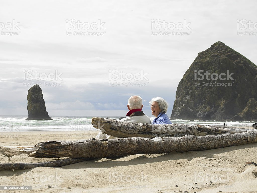 Senior couple sitting on beach royalty free stockfoto