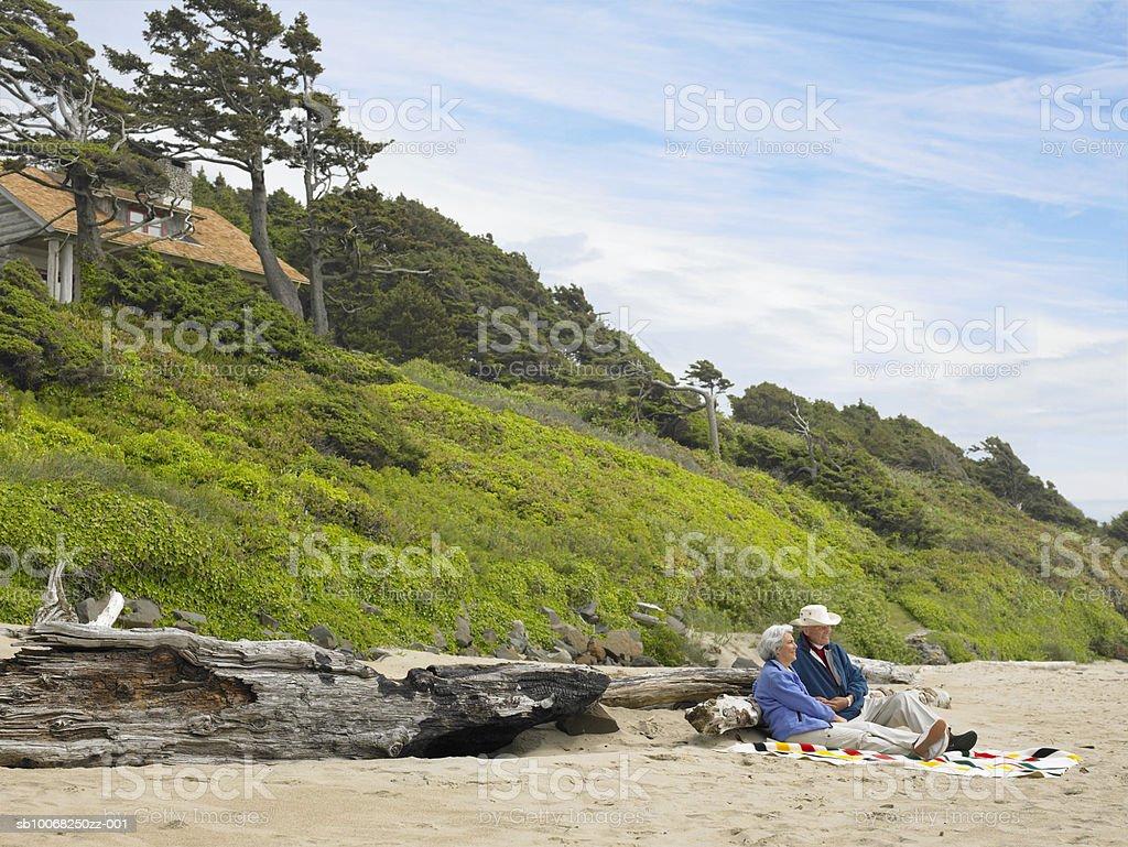 Sênior casal sentado na praia foto royalty-free