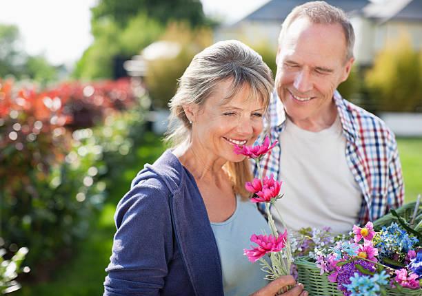 senior couple smelling flowers in garden - summer smell bildbanksfoton och bilder
