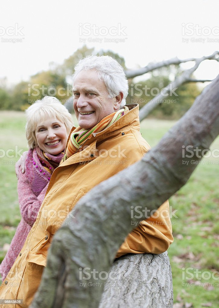 Senior couple smiling outdoors royalty-free stock photo