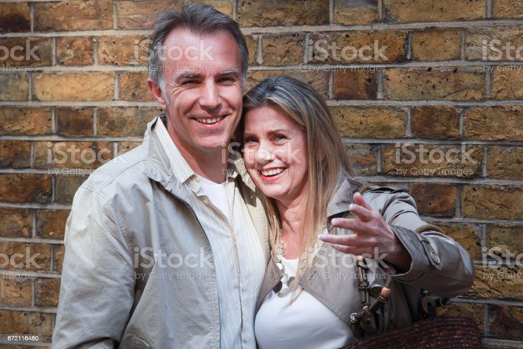 senior couple smiling stock photo