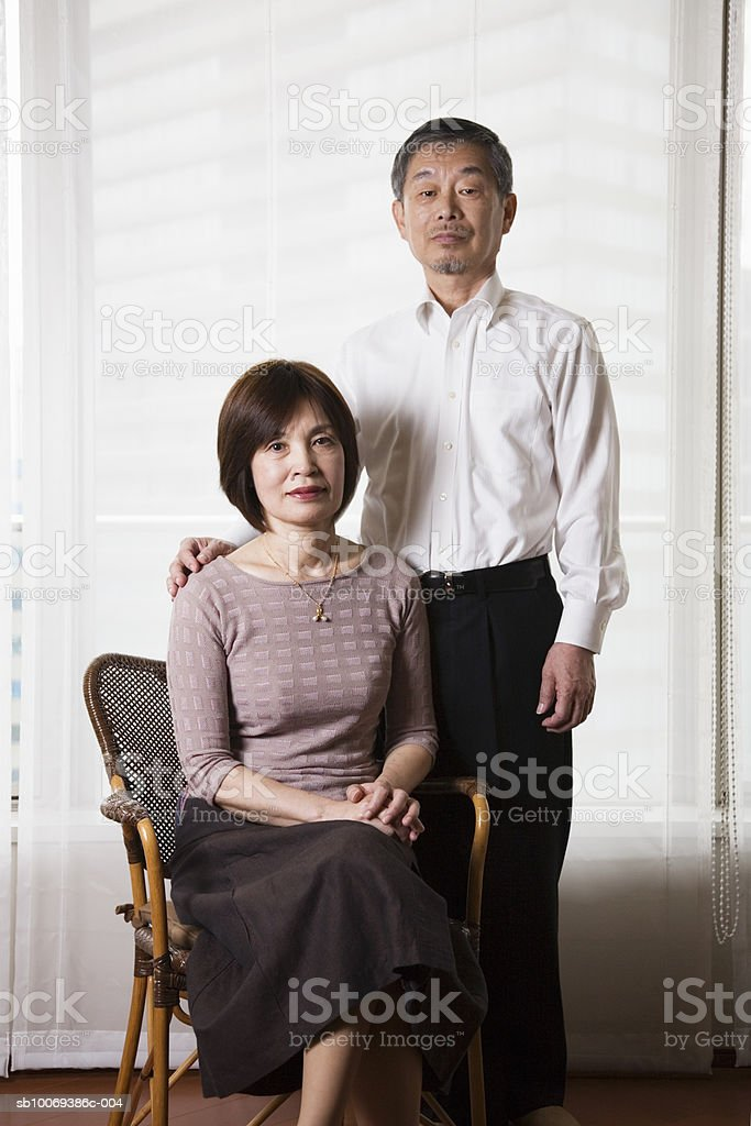 Senior couple smiling, portrait foto royalty-free
