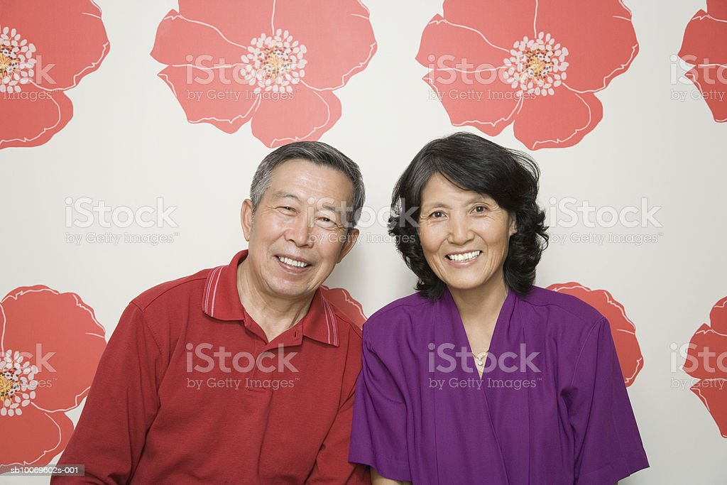 Senior couple, smiling, portrait royalty free stockfoto