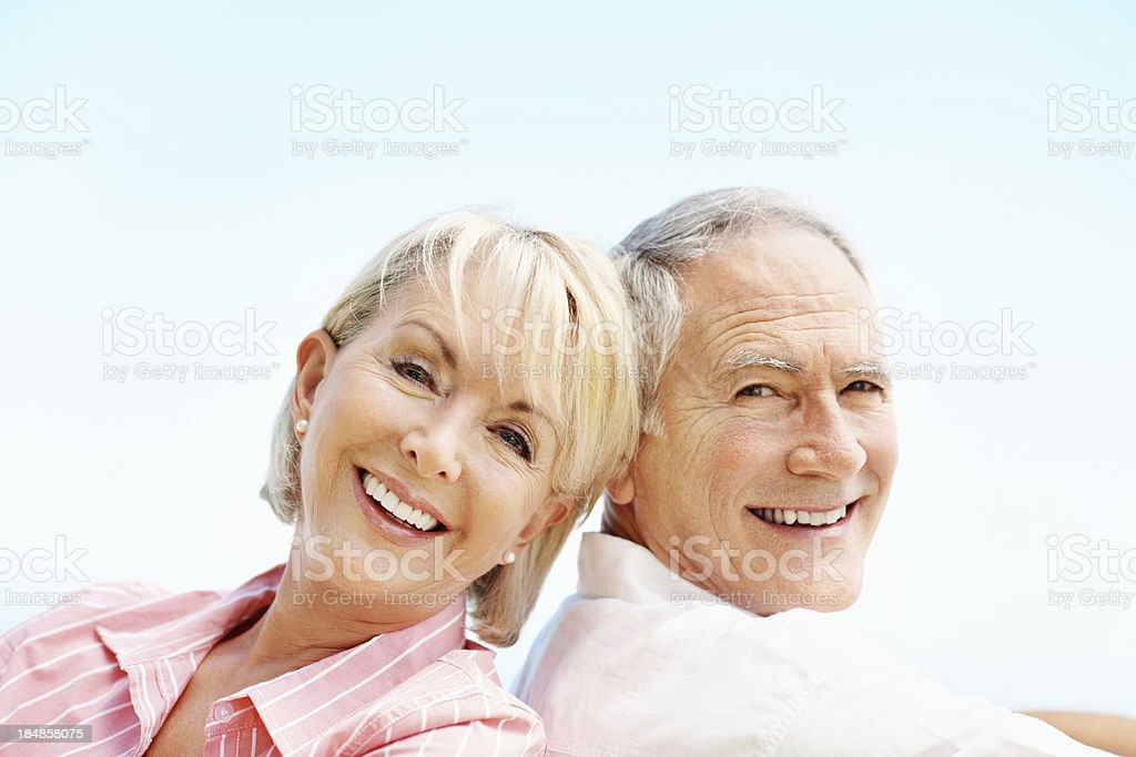 Senior couple smiling together royalty-free stock photo