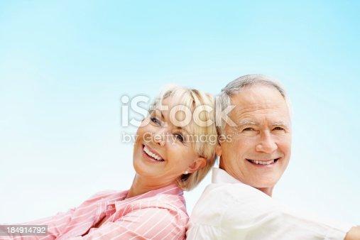istock Senior couple smiling together 184914792