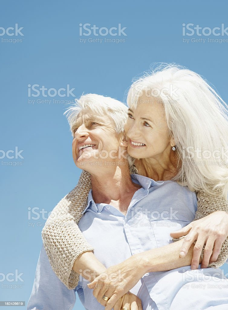 Senior couple spending romancing on a vacation royalty-free stock photo