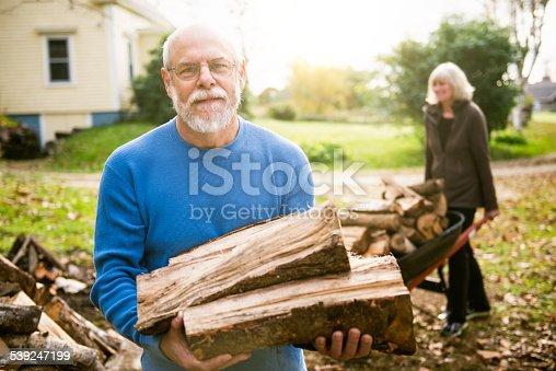 istock Senior Couple Stacking Firewood on the backyard 539247199