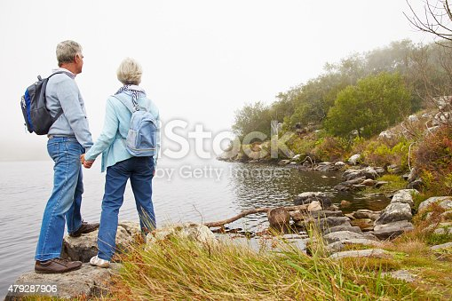 istock Senior couple standing by a lake 479287906