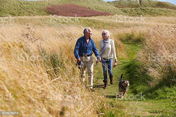 Senior couple taking dog for walk in countryside picture id510076014?b=1&k=6&m=510076014&s=612x612&h=hrxg8laj4b7upmne96abk5wvwegan d1ze8rhn1sqek=