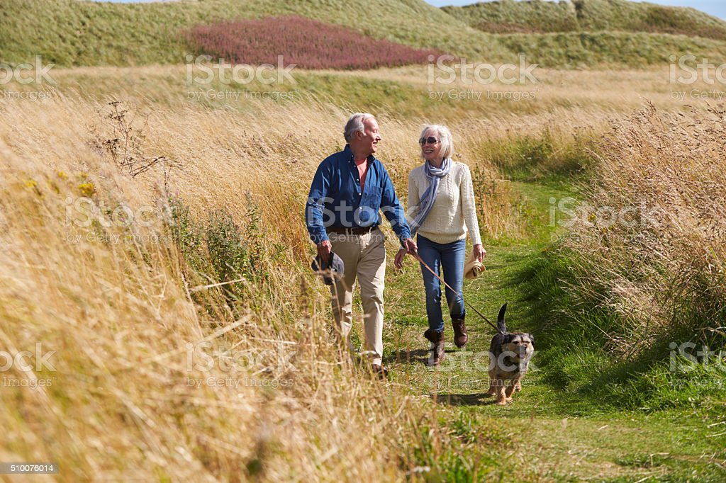 Senior Couple Taking Dog For Walk In Countryside stock photo