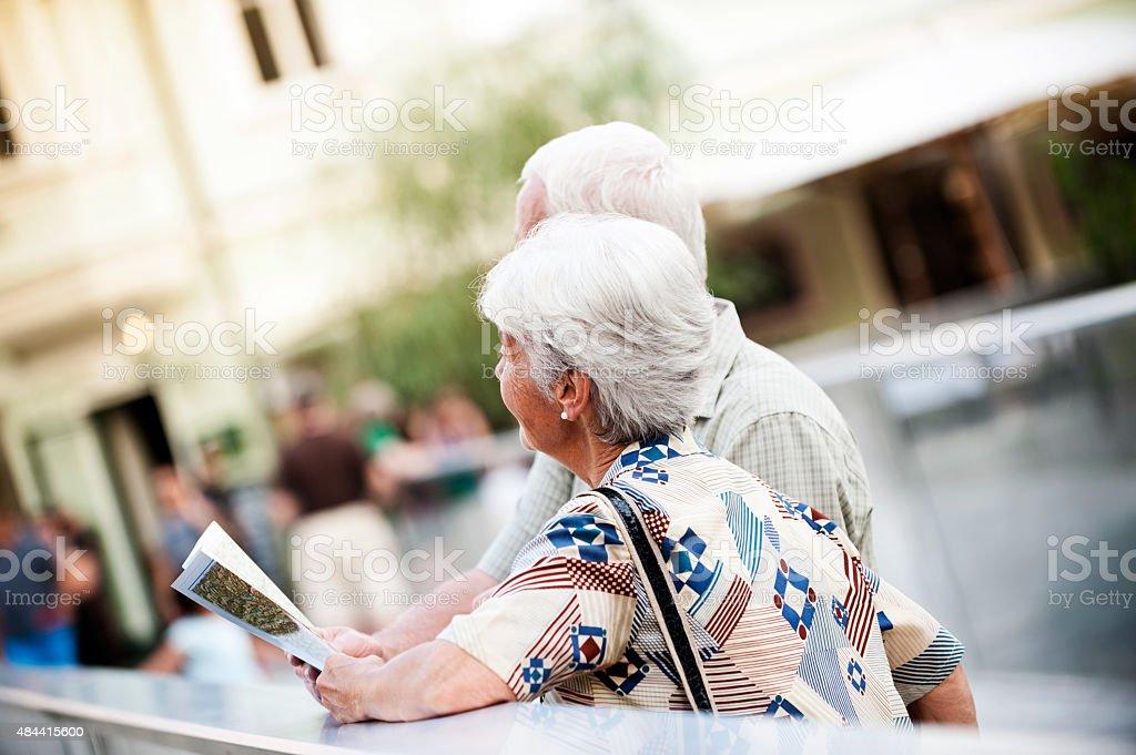 Senior couple traveling stock photo