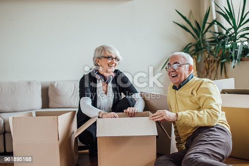 Mature couple smiling and unpacking paper containers at new apartment