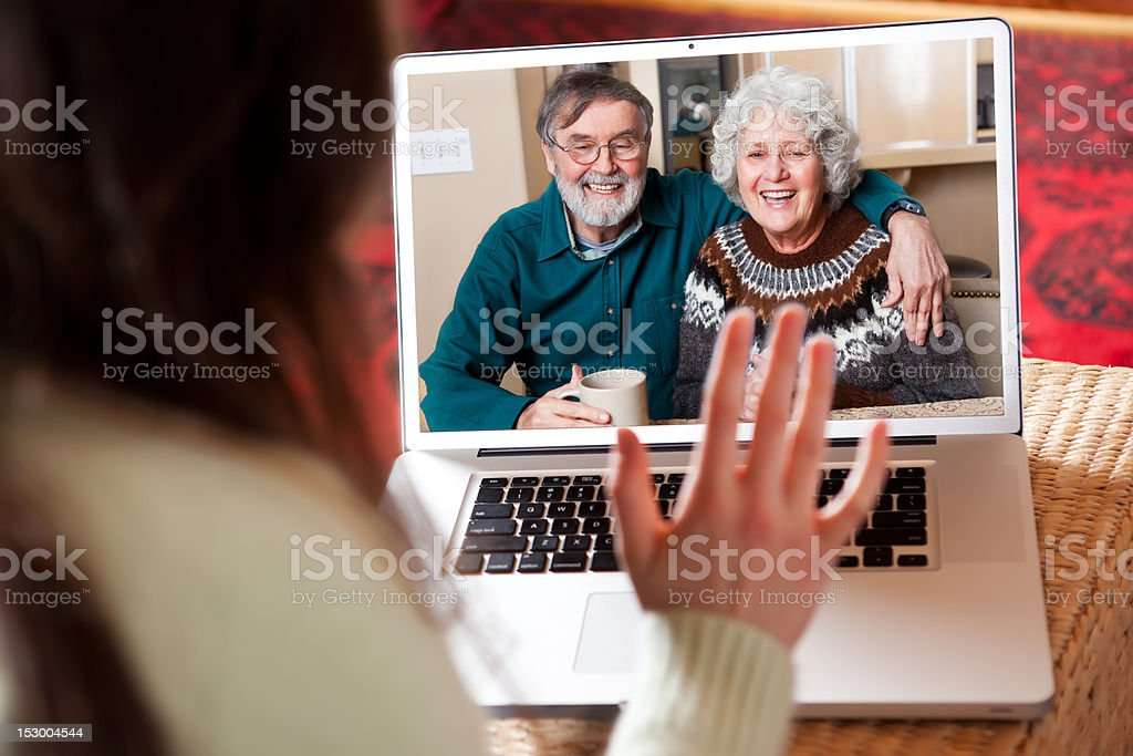 Senior couple video conference stock photo