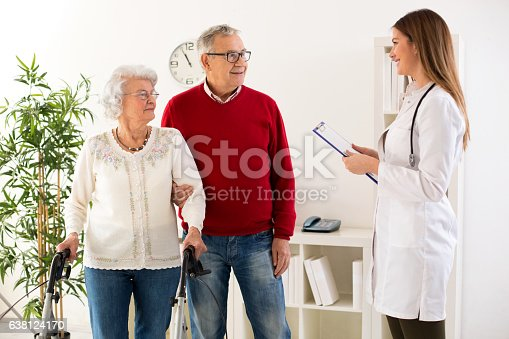 istock Senior couple visit doctor about medic consultation 638124170