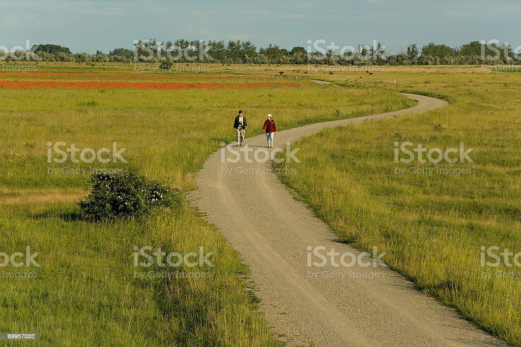 Senior couple walking countryside on long and winding road (XXL) royalty-free stock photo