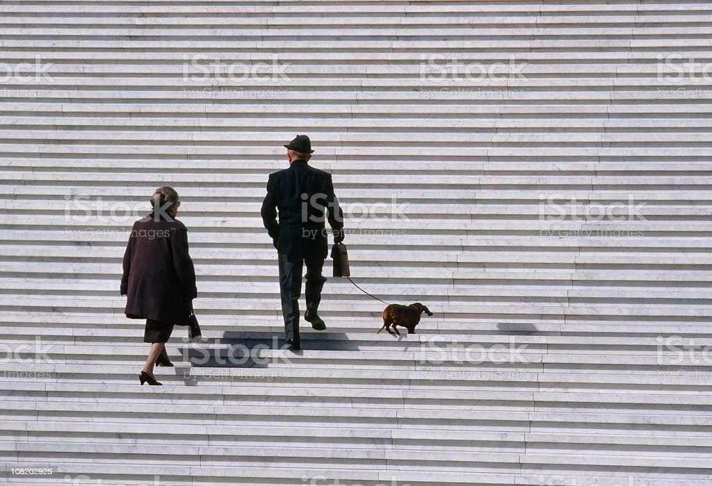 Senior Couple Walking Dachshund Dog Up Stairs royalty-free stock photo