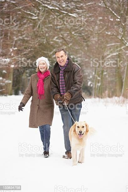 Senior couple walking dog through snowy woodland picture id133834758?b=1&k=6&m=133834758&s=612x612&h=dnxifhcvq6givipf zz80lzb2dyuo030eskvelh9uws=