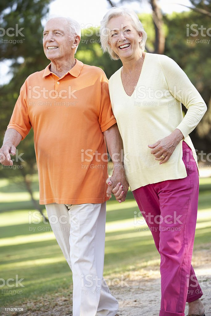 Senior couple walking in park holding hands in a sunny day royalty-free stock photo