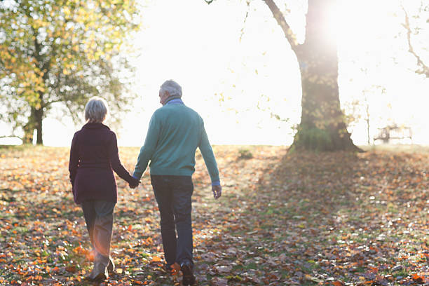 senior couple walking in park - 60 69 years stock photos and pictures