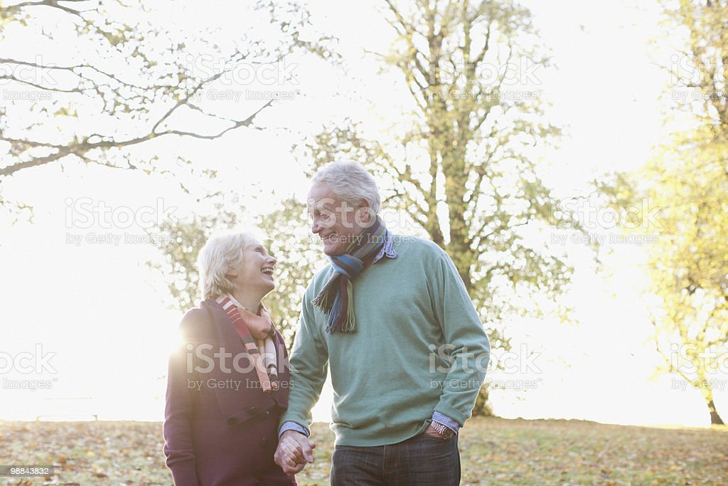 Senior couple walking in park royalty free stockfoto