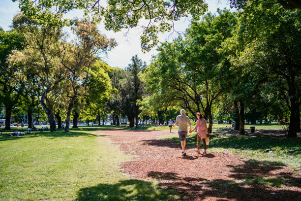 Senior couple walking in public park stock photo