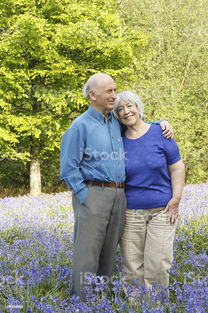 Senior couple walking in woods full of bluebells. royalty-free stock photo
