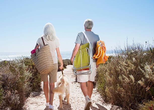altes paar zu fuß am strand mit hund weg - hunde träger stock-fotos und bilder