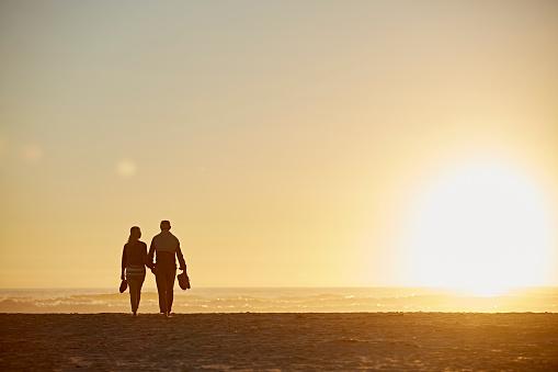 Full length rear view of senior couple walking on beach during sunset