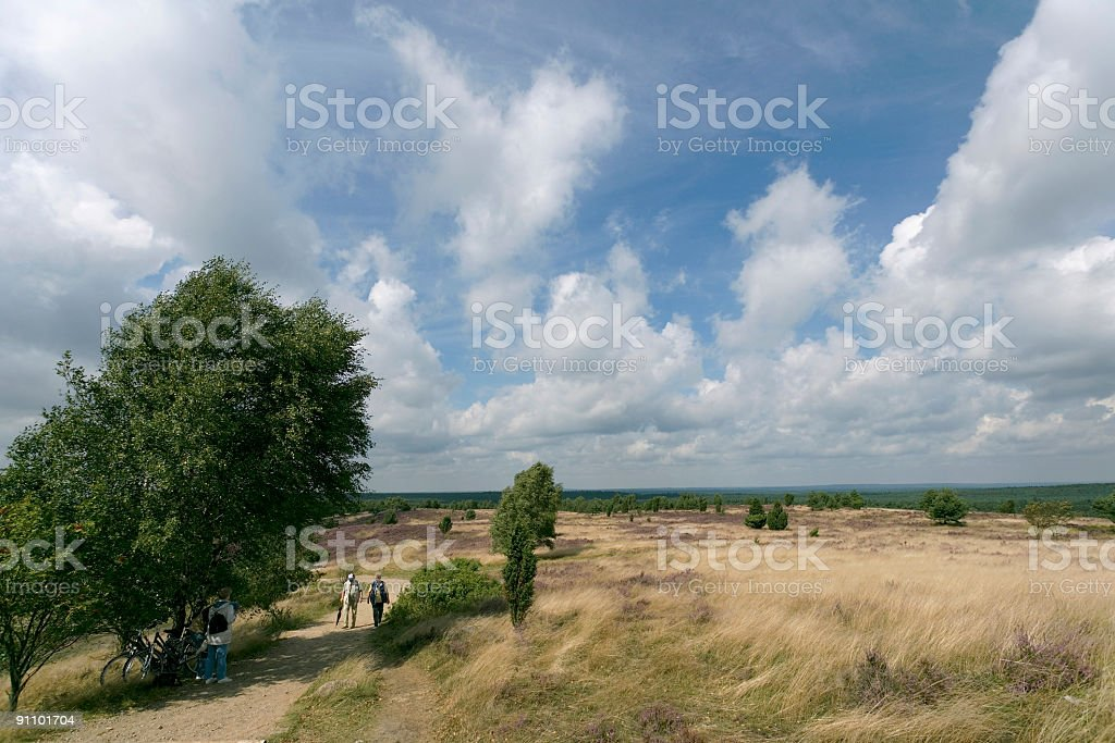 Senior couple Walking on heathland (XL) royalty-free stock photo