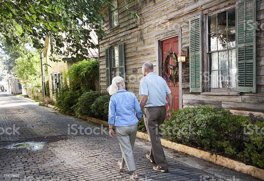 Senior couple walking royalty-free stock photo